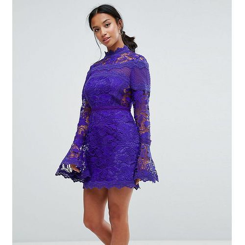 lace long sleeve mini dress with fluted sleeves - navy marki Asos petite