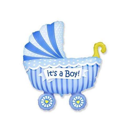 Balon foliowy wózek niebieski - 62 cm - 1 szt. marki Go