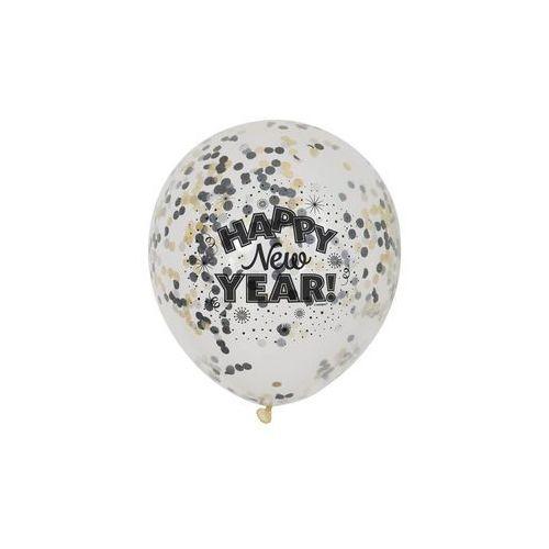 Balony przezroczyste happy new year z konfetii - 30 cm - 6 szt. marki Unique