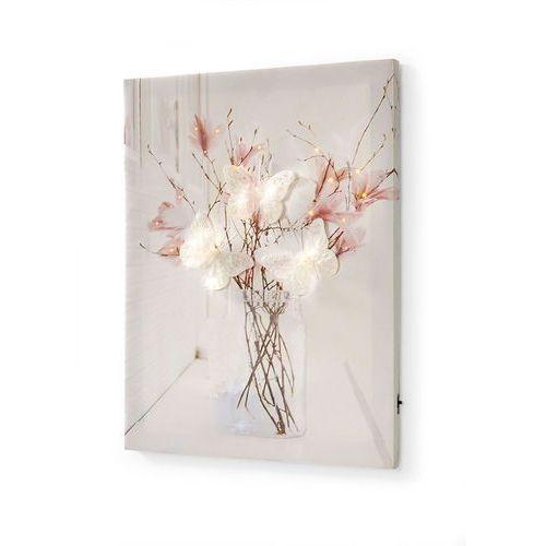 """Bonprix Obraz led """"motyle"""" biało-jasnoróżowy"""