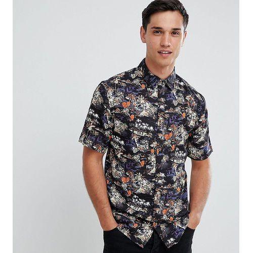 D-struct tall tropical print short sleeve shirt - black