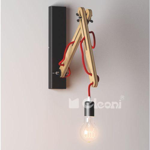 kinkiet SPIDER K1 z czerwonym przewodem, dąb ŻARÓWKA LED GRATIS!, CLEONI 1325K1A305+