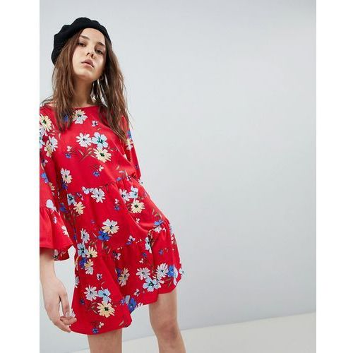 frill detail smock dress in floral print - red marki Qed london