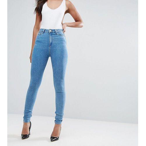 Asos tall  ridley high waist skinny jeans in harry lightwash blue - blue