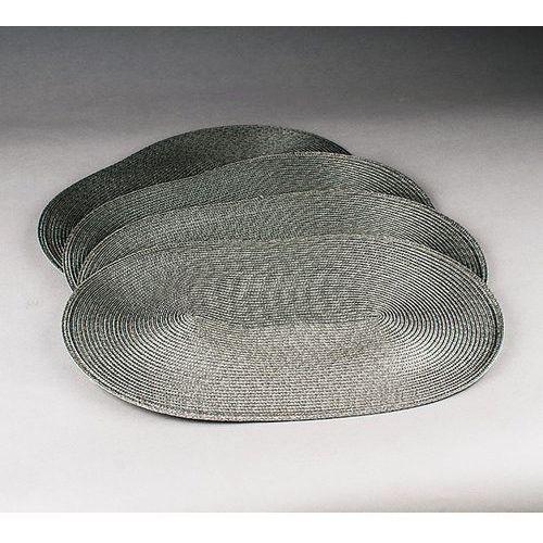 Jahu Podkładki na stół Deco owalne, szare, 35 x 45 cm, zestaw 4 szt.