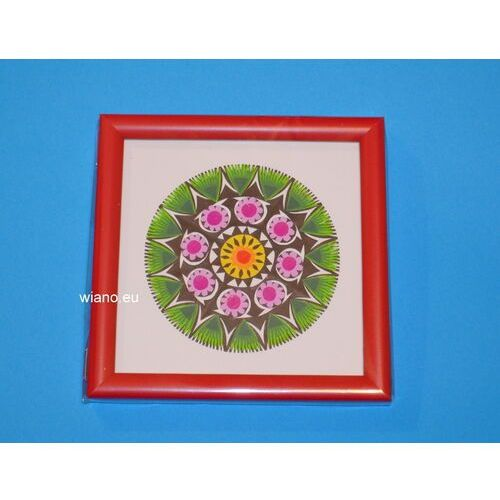 Wycinanka ludowa, łowicka - ażur kwiat łowicki 10, oprawiony w drewnianą ramkę (ww-20) marki Twórczyni ludowa