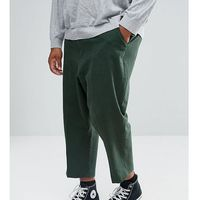 ASOS PLUS Drop Crotch Tapered Smart Trousers In Dark Green Textured Linen Blend - Green