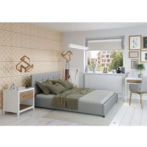 Łóżko 160x200 tapicerowane modena + pojemnik ekoskóra szare marki Big meble