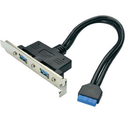 Kabel USB 3.0 Digitus AK-300306-002-S, [2x złącze żeńskie USB 3.0 A - 1x złącze żeńskie USB 3.0, 19-pin], 0.25 m, czarny