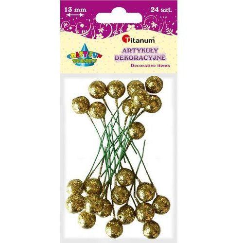 Titanum Brokatowe kulki na piku złote 13mm 24szt craft-fun - złote