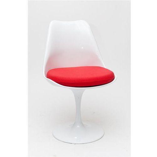 0606 krzesło tul białe/ czerwona poduszka marki D2