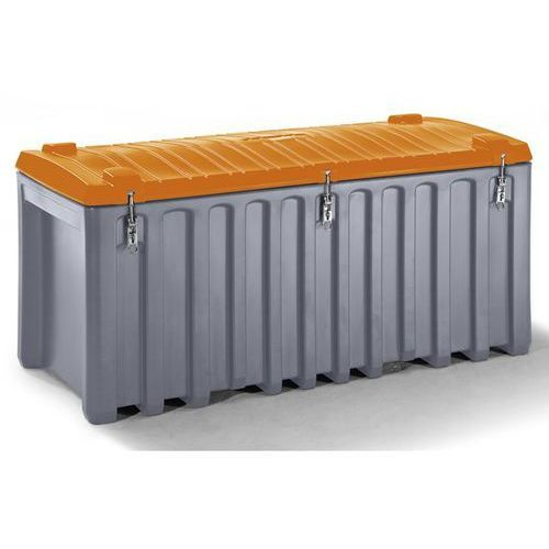 Cemo Pojemnik uniwersalny z polietylenu, poj. 750 l, nośność 400 kg, szary / pomarańc