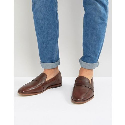 ASOS Loafers In Brown Leather With Perforated Detail - Brown