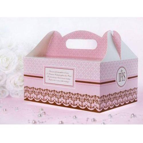 Ozdobne pudełko na ciasto komunijne - różowe - 1 szt.