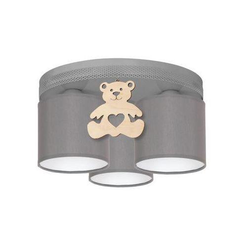 Lampa sufitowa MIŚ szara z drewnem E27 EKO-LIGHT