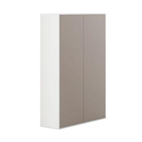 Szafa wysoka z drzwiami White LAYRES, jasnobrązowe drzwi
