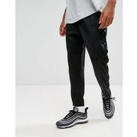 Mennace skinny track joggers with poppers - black