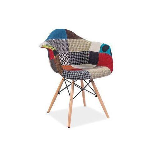 Krzesło drewniane SIGNAL DENIS A PATCHWORK - styl skandynawski - ZŁAP RABAT: KOD40