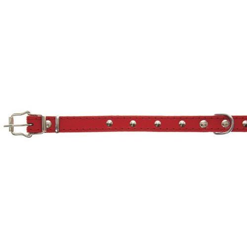 obroża skórzana ozdobna czerwona 16mm/40cm marki Dino