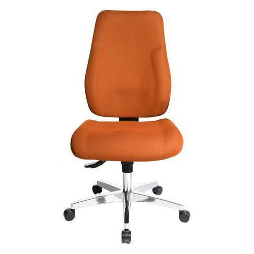 Topstar Krzesło obrotowe dla operatora, wyściełane oparcie, obicie pomarańczowe. łatwe w