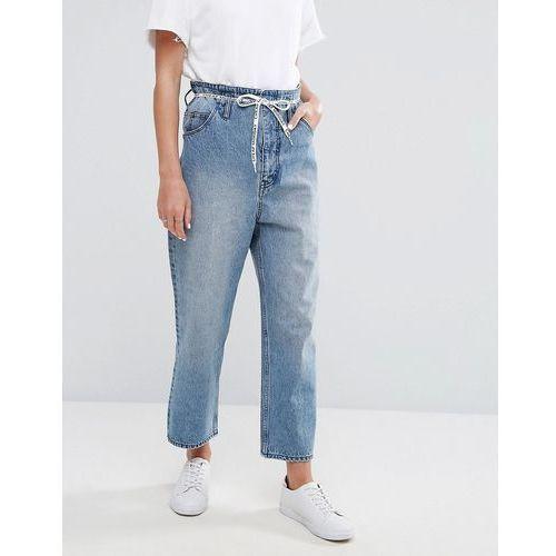 high rise wide leg crop jean with lace up paperbag waist - blue marki Cheap monday
