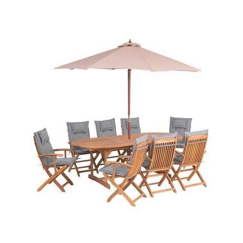 Beliani Zestaw ogrodowy stół i 8 krzeseł z szarymi poduszkami i parasolem maui