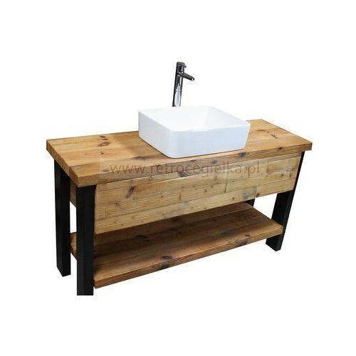 Szafka łazienkowa, stare drewno sosnowe, stalowe nogi marki Retrocegielka