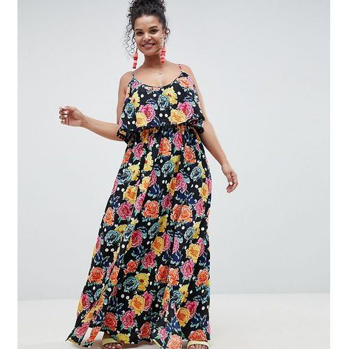 Asos design curve mixed spot floral double layer maxi with pom pom trim - multi, Asos curve