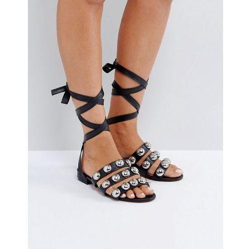 foxing studded flat sandals - black, Asos