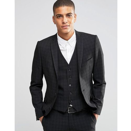 suit jacket with mini tartan in skinny fit with stretch - black, Selected homme