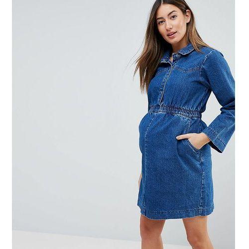 Asos design maternity denim shirt dress in midwash blue with elastic waist - blue, Asos maternity