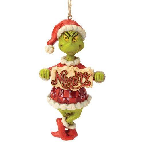 """Grinch zawieszka z bajki """"grinch świąt nie będzie"""" grinch naughty or nice sign hanging ornament 6002073 figurka dekoracja pokój dziecięcy marki Jim shore"""