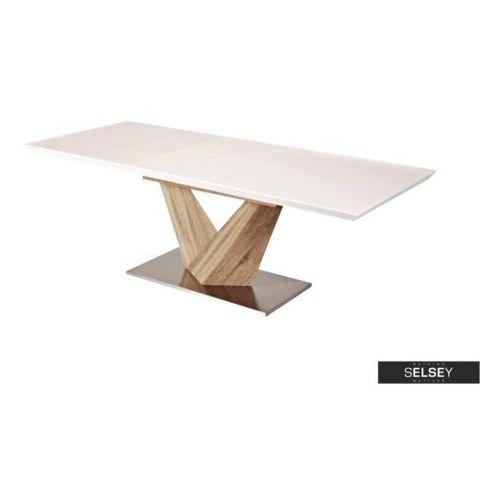 SELSEY Stół rozkładany Aramoko 160-220x90 cm sonoma - biały