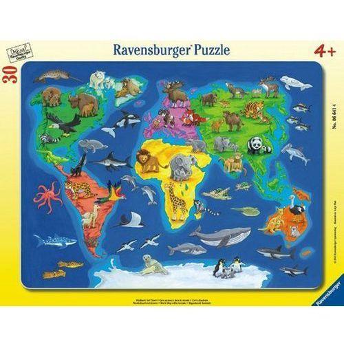 RAVENSBURGER Puzzle w ramce Mapa świata ze zwierzętami, 30 elementów