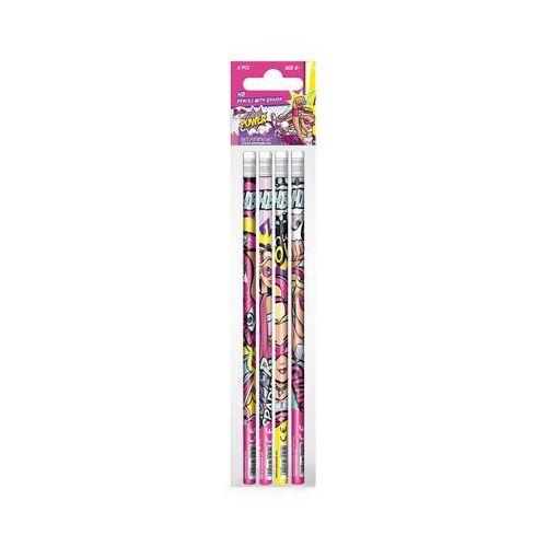 Starpak Ołówek z gumką 335495 barbie super księżniczki (4 sztuki)