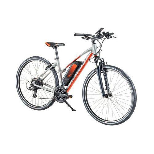 """Damski crossowy rower elektryczny Devron 28162 28"""" - model 2018, Srebrny, 19,5"""""""