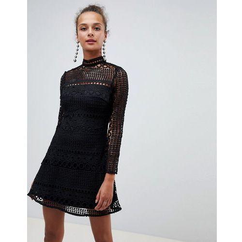 Parisian high neck long sleeve lace skater dress - black