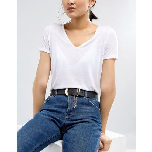 design jeans belt with chain detail in water based pu - black marki Asos