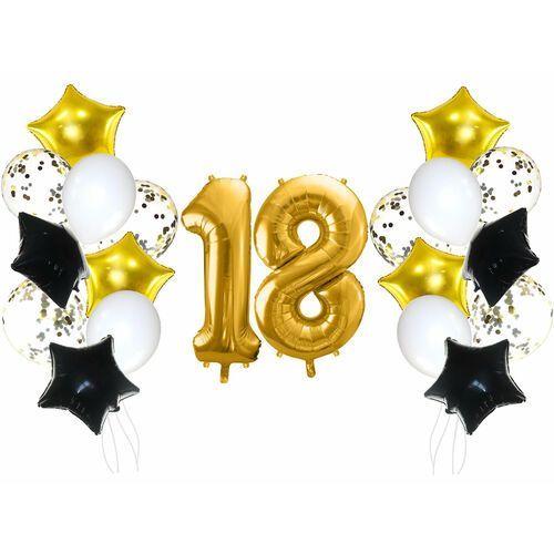 Zestaw balonów na osiemnastkę złoto-czarny - 21 szt. marki Party deco