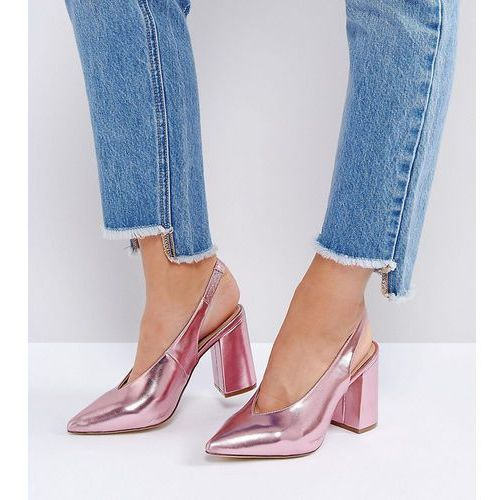 wide fit metallic pointed sling back heeled shoe - pink, New look