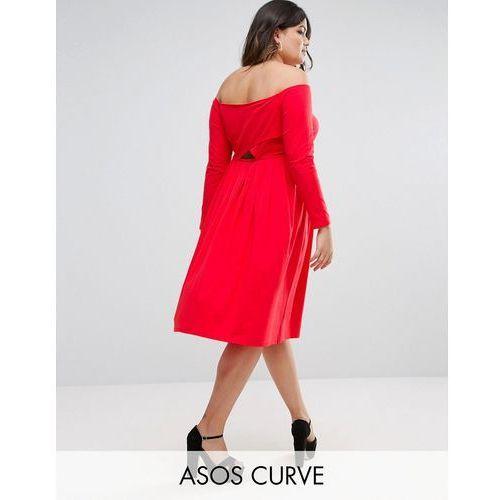 wrap back off shoulder midi dress with long sleeves - red marki Asos curve