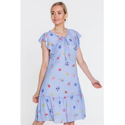 Niebieska sukienka w kwiatki - Margo Collection
