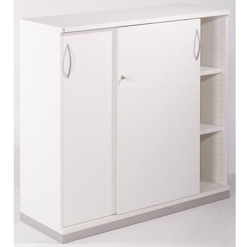 Thea - szafa z przesuwnymi drzwiami, 2 półki, 3 wys. segregatora, stara biel. ni marki Fm büromöbel