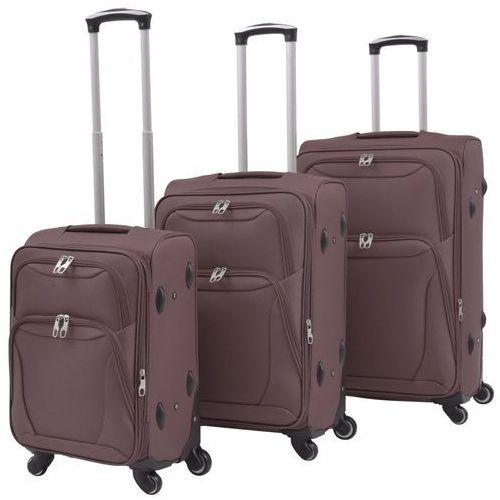 vidaXL 3-częściowy komplet walizek podróżnych, kawowy (8718475565659)