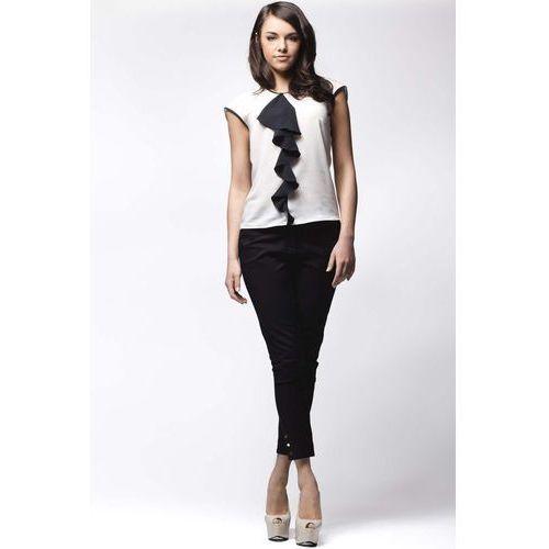 Biało-Czarna Elegancka Bluzka bez Rękawów z Długim Żabotem, kolor czarny