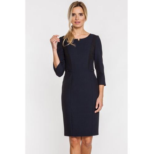 Granatowa sukienka z czarnymi wstawkami - Vito Vergelis, kolor czarny