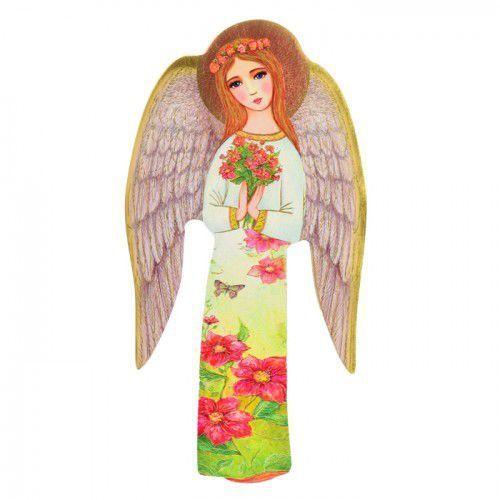 Ręcznie wykonana ikona Anioła Stróża z bukietem, URAW04