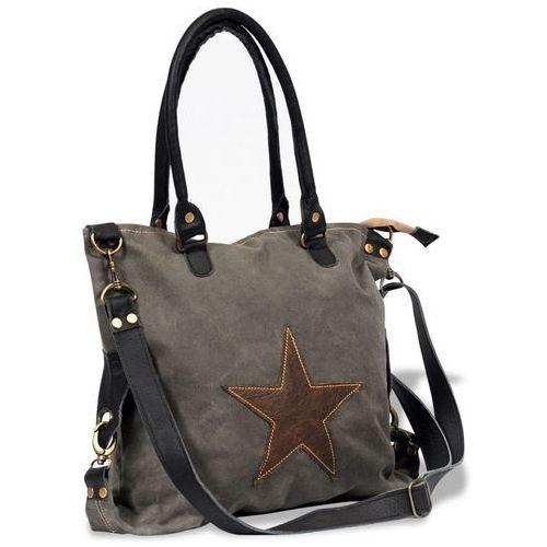 Vidaxl płócienno-skórzana torba na zakupy z gwiazdą, ciemnoszara