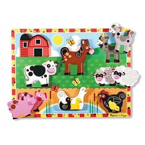 Melissa & doug Extra gruba układanka z figurkami - farma- drewno