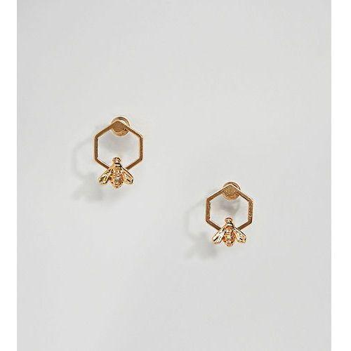 Bill Skinner Gold Plated Hexagon Bee Stud Earrings - Gold